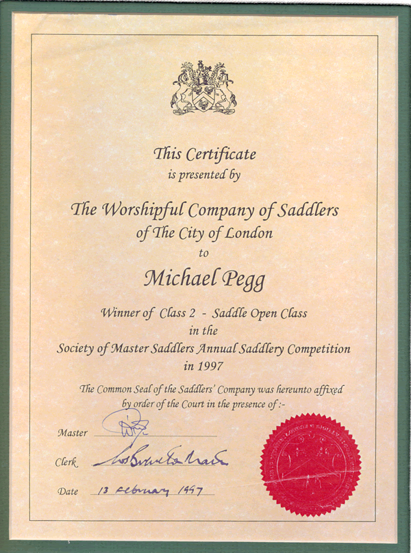 Certificate of First Place Society of Master Saddlers of the City of ...